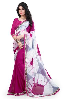 Pink printed nazneen saree with blouse