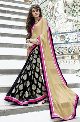 Beige and Black embroidered Chiffon  and  Cotton Jacquard saree with blouse