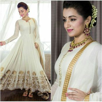 White embroidered pure bhagalpuri semi stitched salwar with dupatta