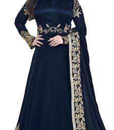 Buy blue georgette embroidered semi stitiched salwar with dupatta party-wear-salwar-kameez online