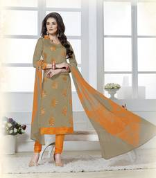 Buy Beige embroidered chanderi unstitched salwar with dupatta diwali-discount-offer online