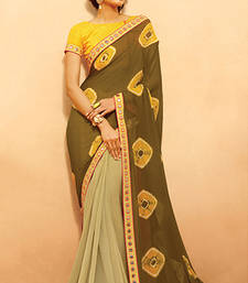 Buy Dark olive printed chiffon saree with blouse half-saree online