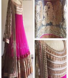 Buy pink georgette embroidered semi stitiched gown with dupatta anarkali-salwar-kameez online