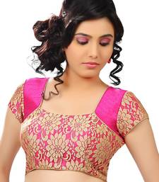 Buy pink Golden Rasal Net and Banglory floral print blouse fabric blouse-fabric online