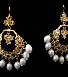 ETHENIC POLKI N REAL WHITE PEARLS HANGINGS IN CHAND BALI STYLE