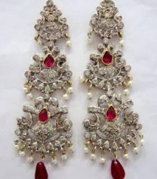 Buy ANTIQUE VICTORIAN WHITE N RED STONE STUDDED PEARLS HANGINGS stud online