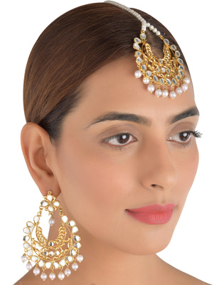 Kundan Embellished Dangler Earrings cum Maang Tika Set 217MT31