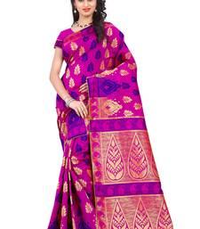 Buy Pink woven banarasi saree with blouse banarasi-saree online