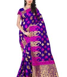 Buy Blue woven banarasi saree with blouse banarasi-saree online