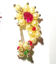 Buy Nath SMALL Clip on (press) type Maharashtrian traditional Nose ring of Pearl beads nose-ring online