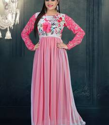 Buy Pink printed net semi stitched salwar anarkali-salwar-kameez online