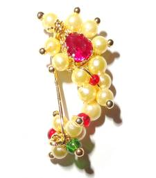 Buy Nath Extra Small Clip type Maharashtrian traditional Nose ring of Pearl bead gifts-for-girlfriend online