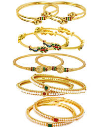 Buy Gold pearl jewellery-combo bangles-and-bracelet online