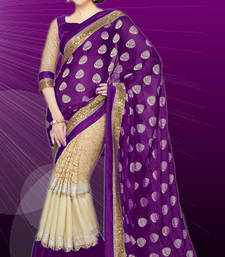 Buy Purple floral print georgette saree with blouse georgette-saree online
