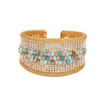 Natural Beads and Rhinestones Italian Designer Cuffs-Aqua Beaded Golden Cuff