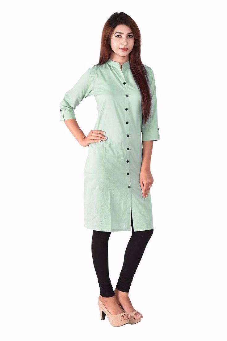 Buy Latest Long Pista Color Plain Cotton Fabric Kurta Online