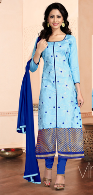Light Blue embroidered Cotton unstitched salwar with dupatta