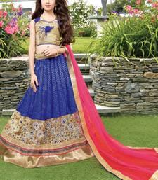 Buy blue embroidered brocade kids lehenga choli eid-kids-wear online