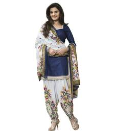 Buy Bikaw Printed Blue Cotton Fashion Patiyala Style Casual Wear Unstitched Suit. punjabi-suit online