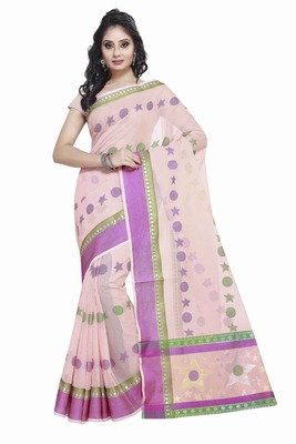 Peach Cotton Handloom Traditional Saree