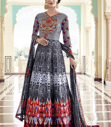 Buy Multicolor zardosi silk semi stitched salwar with dupatta abaya-suit online
