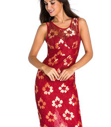 Buy Red Polyester and Spandex sexy western wear western-wear online