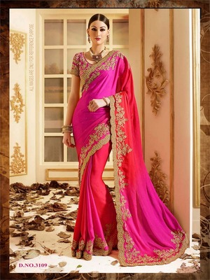 Pink embroidered faux nazneen saree with blouse