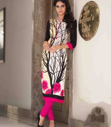 Buy Cream printed cotton party wear kurtis black-friday-deal-sale online