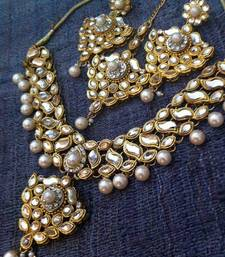 Buy Kundan Work with Floral Leaves with Dangling Pearls Indian Necklace Set d14 necklace-set online