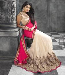 Buy Cream embroidered georgette saree with blouse wedding-saree online