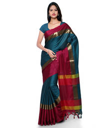 Buy Turquoise hand woven cotton silk saree with blouse handloom-saree online
