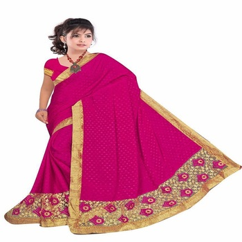 Pink embroidered Holi Sarees