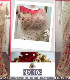 Buy Light cream embroidered nylon saree with blouse party-wear-saree online