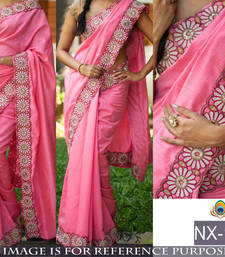 Buy Pink embroidered cotton saree with blouse party-wear-saree online