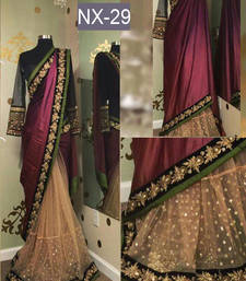 Buy Multicolor embroidered silk saree with blouse lehenga-saree online