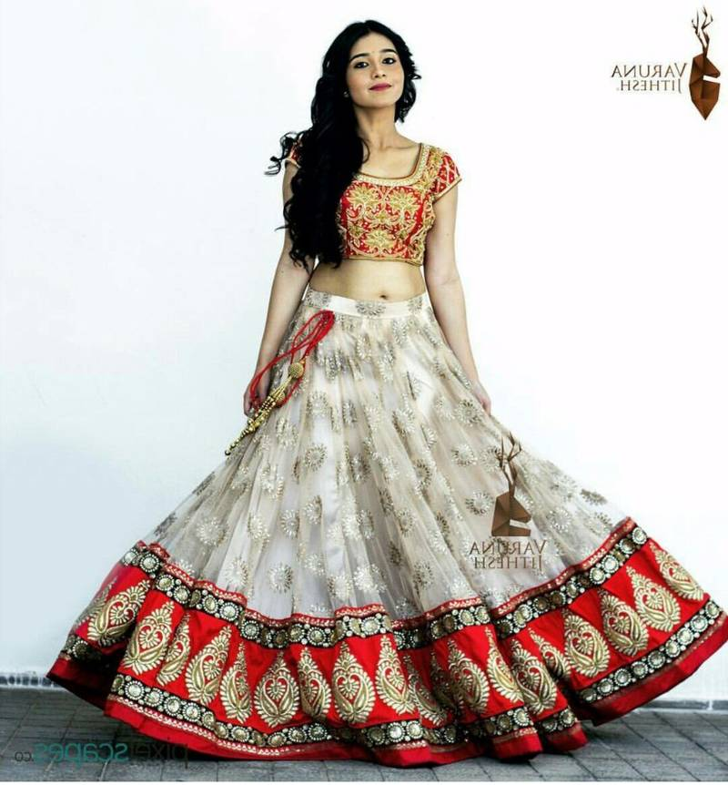 Buy White Embroidered Net Unstitched Lehenga Online