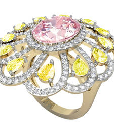 Buy Ethereal Kunzite & Yellow Sapphire Cocktail Ring in 14k Yellow Gold Partly Rhodium Plated gemstone-ring online