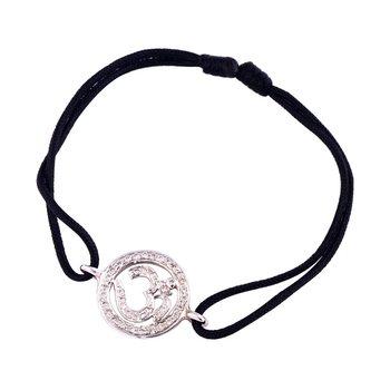 Hindu Om Bracelet 14mm diameter in 925 Silver with Diamonds 0.23 carats