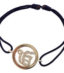 Buy Ik Onkaar Inside Diamond 14K Gold Bracelet on Adjustable Nylon Thread gemstone-bracelet online