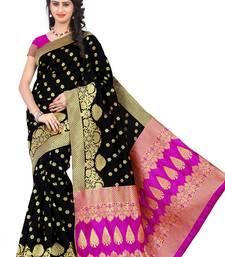 Buy black printed banarasi silk saree with blouse banarasi-saree online