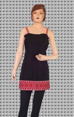 Ethnic Touch - Black and Red Kurti with Red weaving