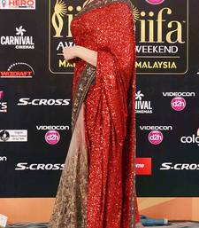 Buy red and chiku embroidered georgette saree with blouse bridal-saree online