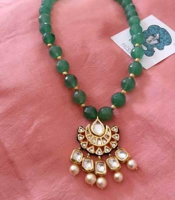 Green gemstone kundan choker necklace