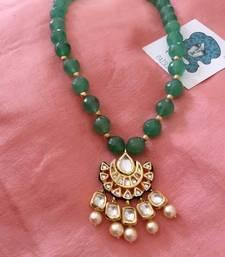 Buy Green gemstone kundan choker necklace Necklace online