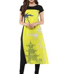 Buy Yellow printed crepe stitched kurti kurtas-and-kurti online