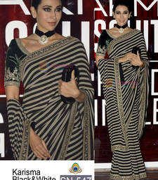 Buy Black embroidered georgette saree with blouse other-actress-saree online