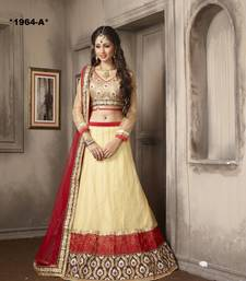 Buy Weding Special Offer Beige Net With Work embroidered unstitched lehenga-choli lehenga-choli online
