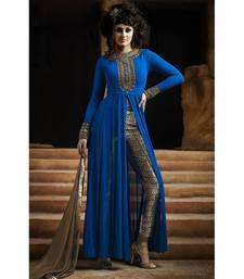 Buy Blue embroidered georgette semi stitched salwar with dupatta ethnic-suit online