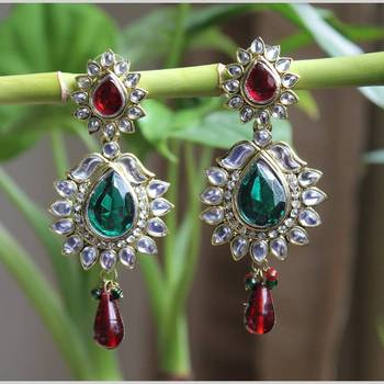 Crystal Stone Encrusted Dangler Earrings with Green and Maroon Stone