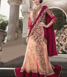 Buy Maroon embroidered velvet saree with blouse one-minute-saree online